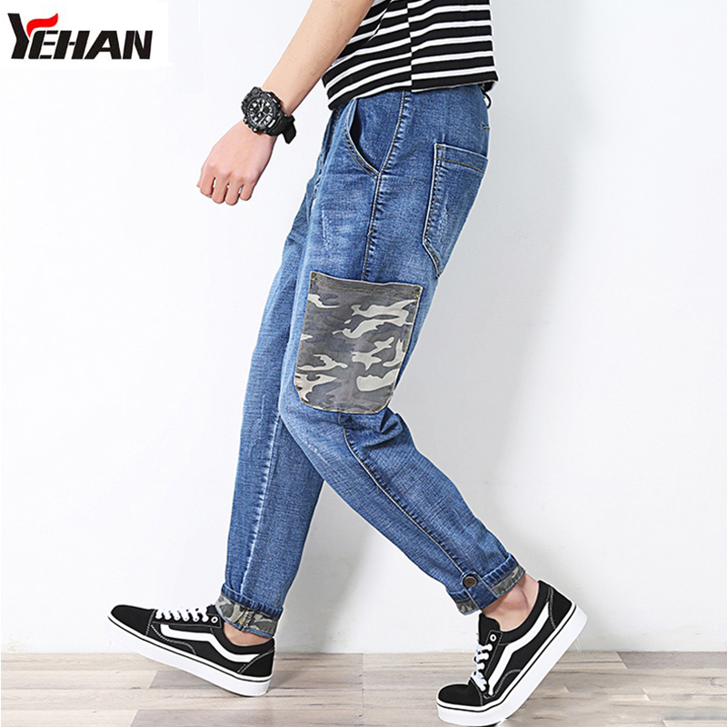Fashion Mens Harem Jeans Tapered Denim Pants Elastic Feet Pants Men Hip Hop Rap Blue Jeans Plus Size With big PocketsÎäåæäà è àêñåññóàðû<br><br>