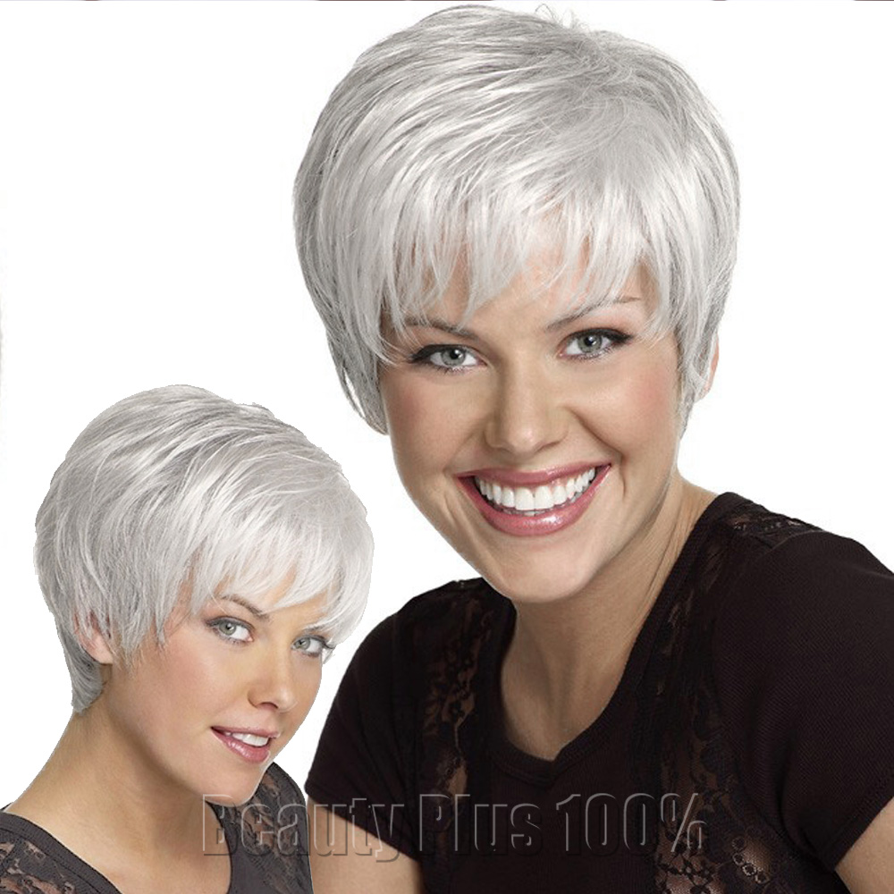 8inch Heat Resistant Synthetic Puffy Short white Wigs For Black Women Natural African American Wig With Bangs Free Shipping<br><br>Aliexpress