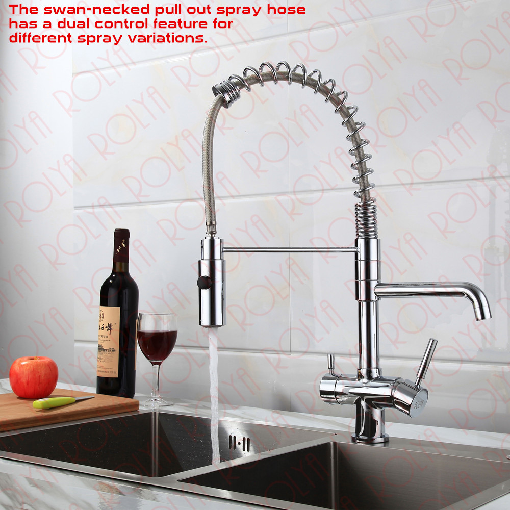 Rolya 3 way kitchen faucet with spring hose 7