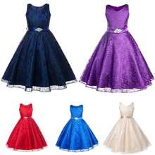 Summer Elegant Bridesmaid Princess tutu bow Baby Girl Prom Dresses with Foral Appliques for kids Birthday Party outfit clothing