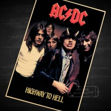 Highway to Hell, AC/DC Music Poster Vintage Retro Decorative DIY Wall Stickers Home Posters Art Bar Decor Gift(China)