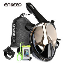 Enkeeo Full Face Snorkel Mask with 180 Panoramic View Watertight and Anti-Fog (Including Waterproof Phone Case)(China)