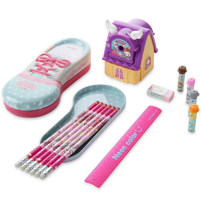 Korean School stationery set for children as a gift pencil ruler eraser pencil sharpener Set 13pcs Kandelia <br><br>Aliexpress