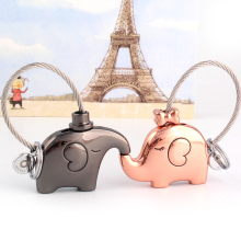 Milesi - New 2015 Brand Kiss Elephant Key chain Keychain Car Styling Key Ring Novelty Items Wedding Couple Trinket Bag Pendant(China)