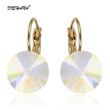 2016 Earings Fashion Jewelry Famous Brand Austrian Crystal Earring Gold-color Drop Earrings For Women oorbellen Bijoux(E0001-1)(China)