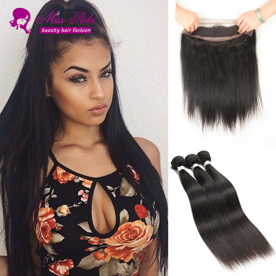 Pre Plucked 360 Lace Frontal with Bundle 360 Lace Frontal Closure with Bundles Brazilian Straight Remy Human Hair with Closure <br><br>Aliexpress