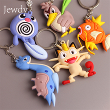 Anime Pokemon Go Pvc Keychain Pocket Monsters Pikachu Charmander Squirtle Bulbasaur 3D Mini Figure Key Ring Dropship(China)