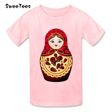 Russian Dolls Owl Children T Shirt 100% Cotton Short Sleeve Round Neck Tshirt Tees Boys Girls 2017 Simple Style T-shirt For Baby