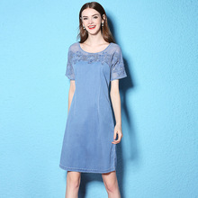 2017 Summer and Autumn large size New Pattern dress Split Joint Lace dress loose Edition Flower Blue thin denim dress NW17B1126
