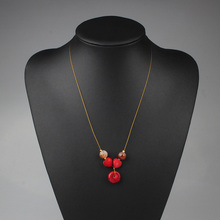 2016 New Fashion Red Natural Coral Heart Round Pendant Gold Short Necklace For Women Party Free Shipping JM-16124