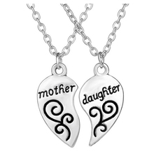 "English ""mother daughter "" Two valve Splice Heart Pendant Necklace 10(China)"