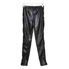 LADIES SEXY WET LOOK LEGGINGS BLACK LACE SIDE SHINY LEATHER LOOK(China)