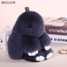 Wholesale Rex Genuine Rabbit Keychain Cute Fluffy Bunny Keychain Rabbit Fur Pompom Key Ring Pom Pom Toy Doll Bag Car Key Holder