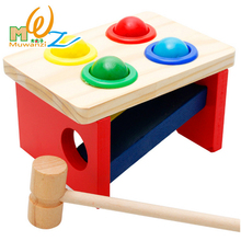 Wooden Colorful Hammering Ball Geometric Assembling Blocks Kids Early Learning Educational Toys For Newborn Children Baby Gifts(China)