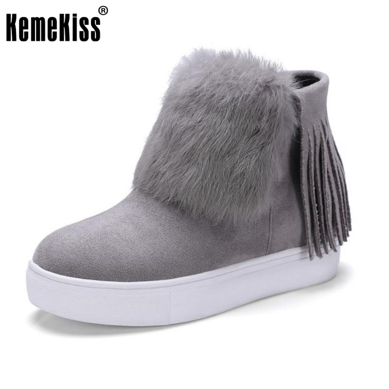 KemeKiss Women Thick Fur Ankle Snow Boots Women Thick Platform Side Zip Shoes Women Warm Plush Winter Botas Footwear Size 34-39<br>