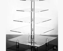 5 Tier Acrylic Square Wedding Cake Stand/ Cupcake Stand Tower/ Dessert Stand/ Pastry Serving Platter/ Food Display Stand