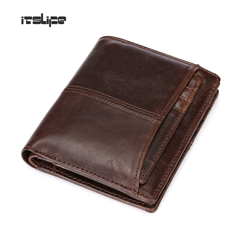 Waxed Genuine Leather Men Wallets With Coin Pocket Card Holder Brand Designer Vintage Mens Wallet Man Purse 2017 High Quality<br><br>Aliexpress