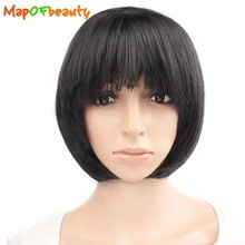 MapofBeauty short straight Cosplay Bob womens Wigs Costume Party red black white 16 Multipl Colors Ladies Pelucas Synthetic hair