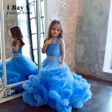 I Bay U Burgundy Cloud Little Flower Girls Dresses Blue Kids Evening Gowns Baby Party Frocks Kids Prom Dresses Communion Dresses