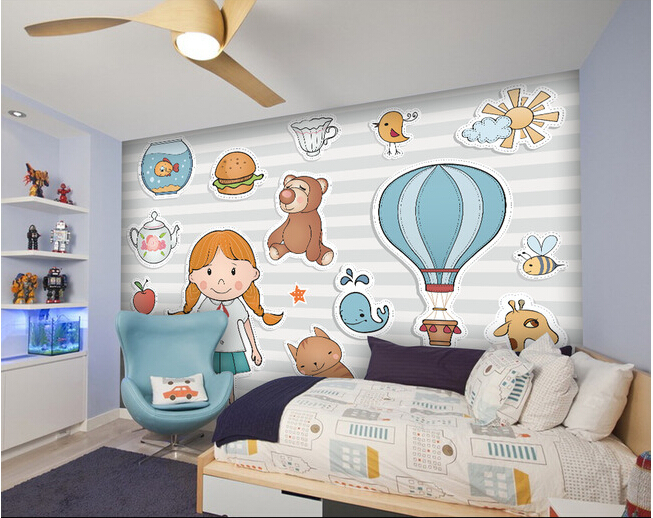 Custom children wallpaper, cartoon cute animals for children room living room TV wall vinyl which paper DE parede <br>