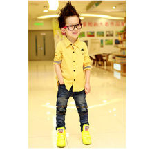 New Boy's Clothing Kids Button down Dress Shirt Long Sleeve Casual Shirts Blouse Tops Clothes