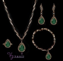 Green Popular Latest Design Vintage Wedding Jewelry Necklace And Earrings For Women Complete Set Of Jewelry Set(China)