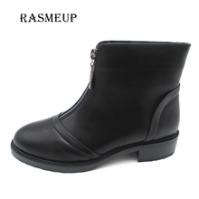 RASMEUP Fashion Women Front Zipper Ankle Boots Woman Round Toe Black Motorcycle Boots Womens Winter Plush Martin Shoes