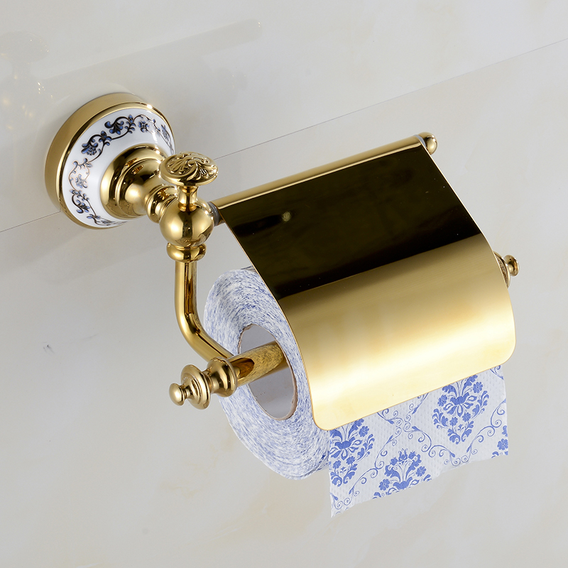 Paper Holders blue-and-white Porcelain Decorative Gold Solid Brass Wall Mounted Toilet Ceramic Bath Roll Tissue Holder XE3395<br>