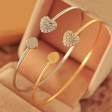 Hot Women's Crystal Love Heart Hand Cuff Open Bracelet Bangle Gold Silver Tone Gift  6Y4C 7FZE BD45