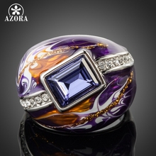 AZORA Royal Design White Gold Color Stellux Austrian Crystal Multicolour Oil Painting Pattern Ring TR0092