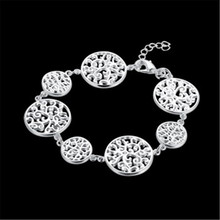 925 Sliver Bracelet Chain Foreign Trade Simple Zircon Style Barefoot Fashion Jewelry Round cake Bracelet
