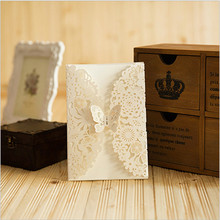 12pc Butterfly Laser Cut Flower Wedding Invitations for Friend/Christmas/Baby Shower/Adult Ceremony Party Decoration Paper Craft