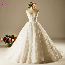 Buy Waulizane Charming Appliques Lace Sweetheart Princess Wedding Dresses Delicate Beaded Pearls Lace Chapel Train Bride Gowns for $248.82 in AliExpress store