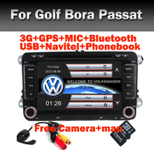 "Factory price 7"" Touch Screen Car DVD for VW Golf Polo Jetta Bora Passat Wifi 3G GPS Bluetooth Radio USB SD Free car camera"