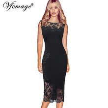 Vfemage Women Elegant Sexy Applique Floral Flower Black Lace See Through Party Club Cocktail Fitted Bodycon Pencil Dress 7451(China)