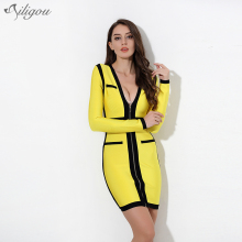 Ailigou 2017 Summer Luxury Bandage Dress Women Front zipper Celebrity Party dress Fight color yellow&black Bodycon vestidos(China)
