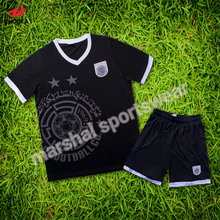 Wholesale top quality 100% dry fit black customized kids soccer uniform set