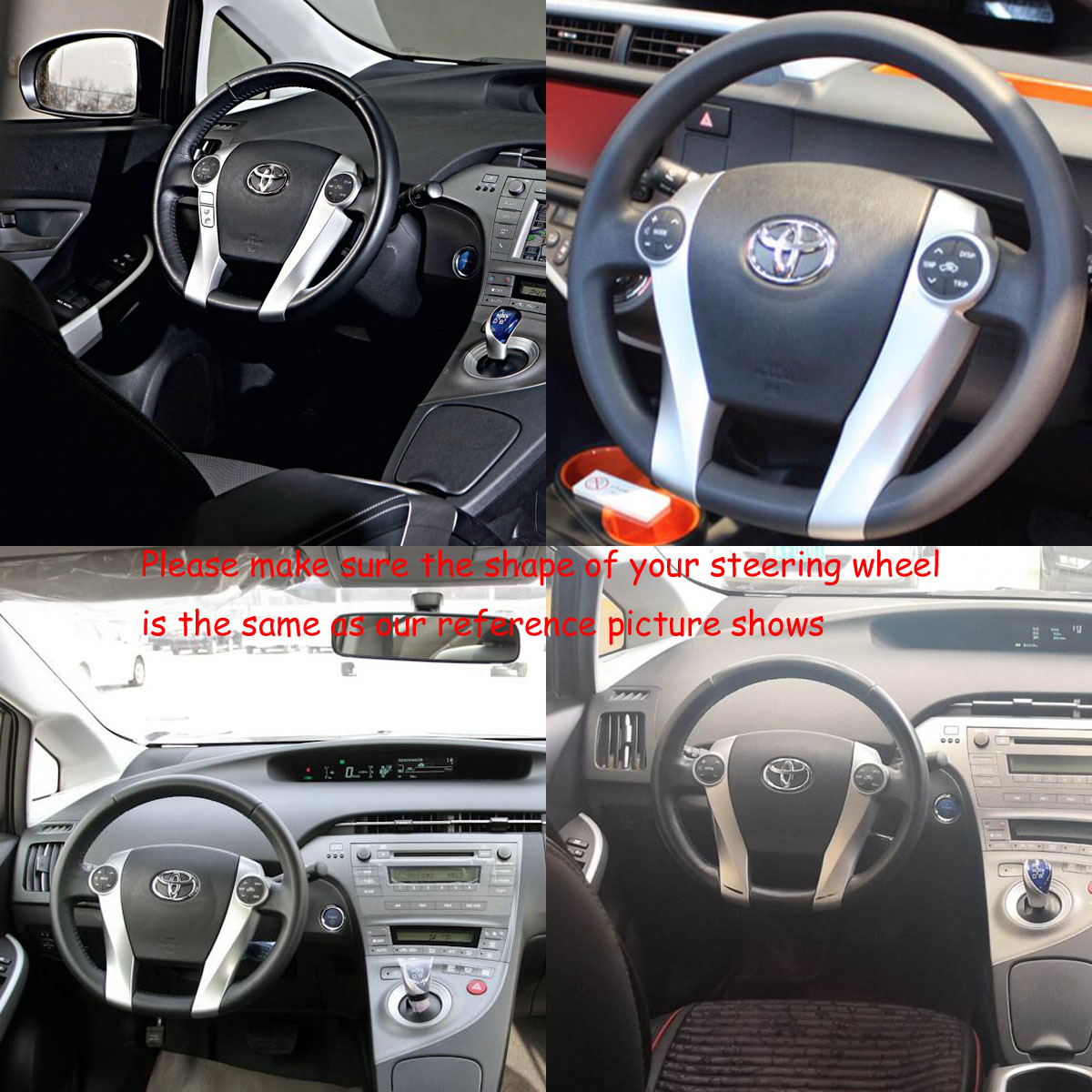 Toyota PRIUS III Hybrid 2010-2015 black wood leather steering wheel Piano sports