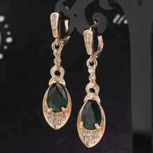 New Fashion Women/Girl's Gold-Color Austrian Crystal CZ Peridot Pierced Drop Dangle Earrings Jewelry Free shipping(China)