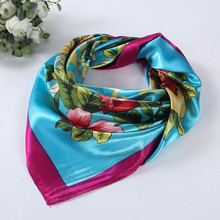 Fashion Elegant Women Scarf  Floral Printed Square Scarves Head Wrap Kerchief Neck 4 Colors 90*90cm Satin Shawl#LSN