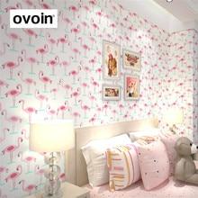 Розовый и белый Фламинго <em>обои фламинго в интерьере</em> Птица Обои ролл Романтический Детские дизайнерские обои для детской комнаты Гостиная Домашний Декор винил(China)