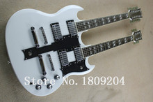 The Custom Shop Double Neck Alpine White Electric Guitar, 12/6 strings Guitar, silver hardware, Free shipping