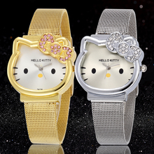 Hello Kitty Watch Cartoon Clock Girl Children Lovely Wrist Watches Kids Cute Child Brand Casual Hodinky Ceasuri Criancas Relogio(China)