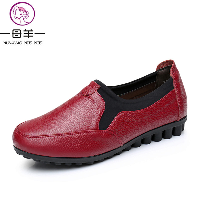MUYANG MIE MIE Women Shoes Genuine Leather Shoes Woman Spring Autumn Flat Single Shoes Female Soft Round Toe Shoes Women Flats<br>