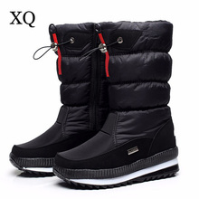 High Quality Women's Boots 2017 New Non-slip Waterproof platform Snow boots Mid-calf White Women Winter Shoes(China)