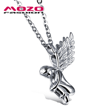 2016 New fashion jewelry hot Sale tide male stainless steel  Angel Wings pendant necklace creative gift boutique for men MGX1016