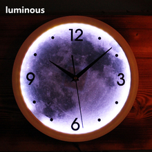 Creative luminous moon clock with Led lights  Night viewable Arabic numeral  art wall clock