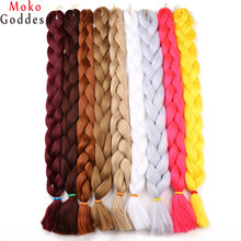 Ali MoKoGoddess 41inch 165g/pack Synthetic Braiding Hair Purple Kanekalon Jumbo Braid Crochet Hair Extensions Blond(China)