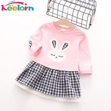 Keelorn Girls Dress 2017 Autumn Casual Style Baby Girl Clothes Long Sleeve Cartoon Bunny Print Plaid Dress for Kids Clothes(China)