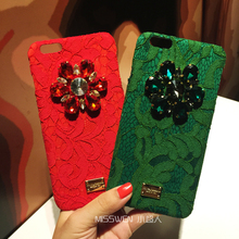 Luxury Italy Fashion Flower Rainbow Lace bling Crystal Phone Case For iPhone 7 6 6s plus Rhinestone capinhas Hard Cover Shell